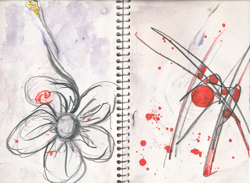 72TraditionallyAbstract 5x9 flower sketchbook